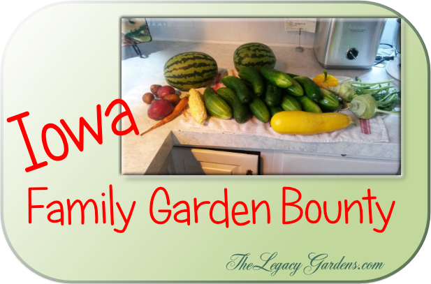 graphic with image of produce from Iowa family garden