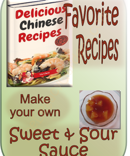 graphic featuring recipe book, Delicious Chinese Recipes, plus sweet and sour sauce