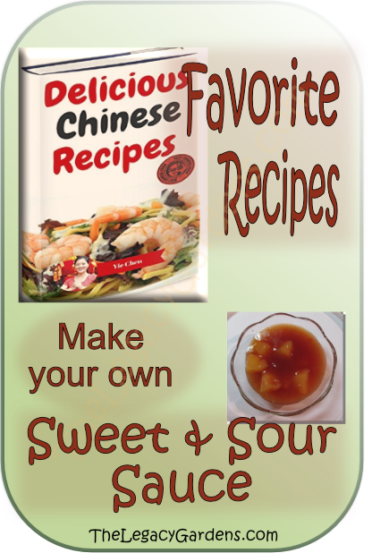 graphic featuring Delicious Chinese Recipes cookbook plus sweet and sour sauce.